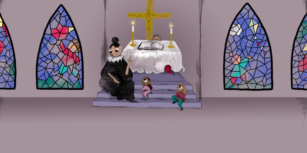Præst taler med børn i kirken