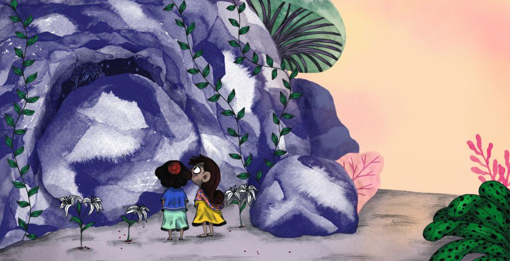 Bibelfortællinger for børn: Lea, Laban og lagenet - børn ser at klippehulen er lukket