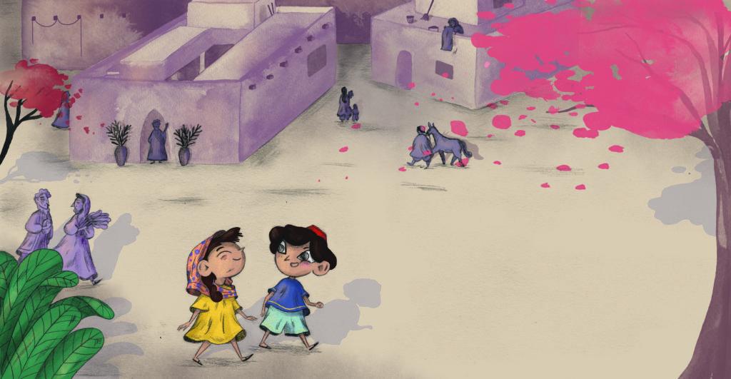 Bibelfortællinger for børn: Lea, Laban og lagenet - børnene går gennem byen