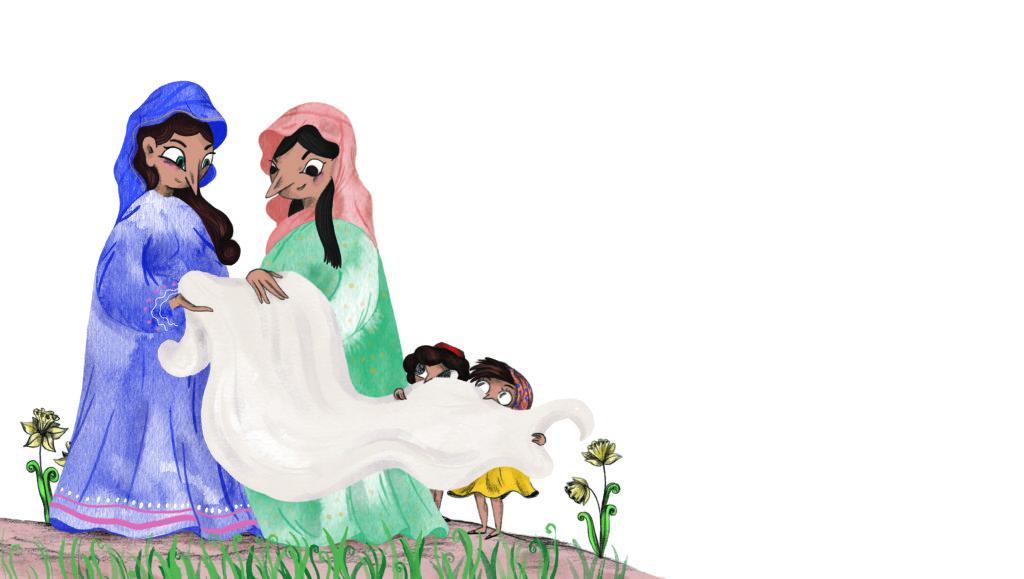 Bibelfortællinger for børn: Lea, Laban og lagenet - børnene viser Maria M og Maria det tomme lagen