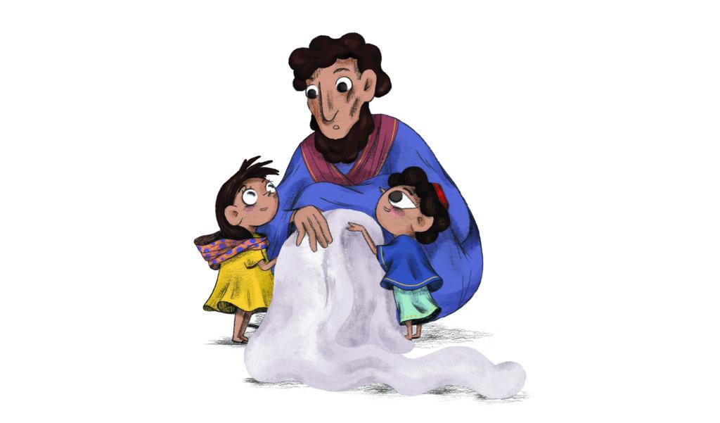 Bibelfortællinger for børn: Lea, Laban og lagenet - forbavset far hører den gode nyhed