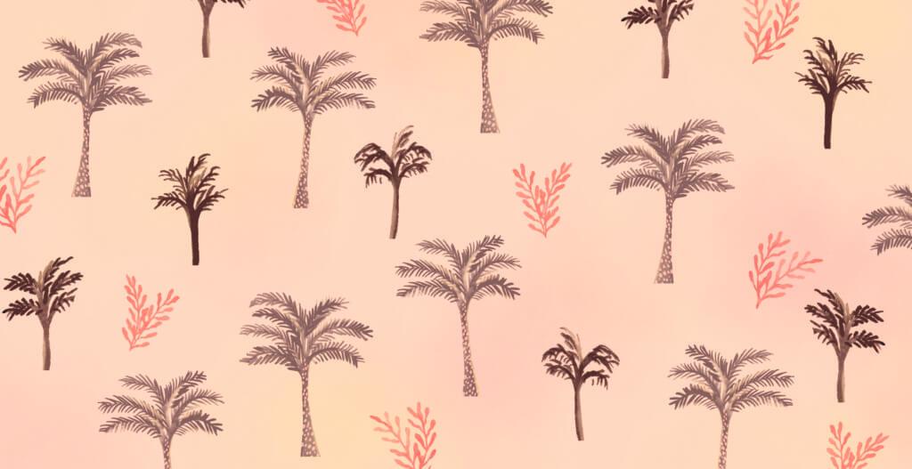 Bibelfortællinger for børn: Lea, Laban og lagenet - omslag med palmer