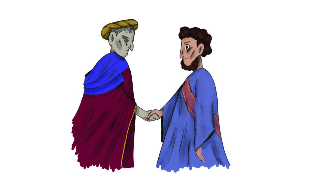 Bibelfortællinger for børn: Lea, Laban og lagenet - Josef og Pilatus hilser på hinanden