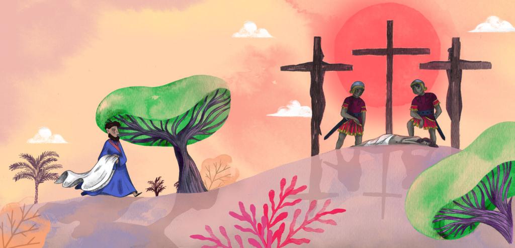 Bibelfortællinger for børn: Lea, Laban og lagenet - far går ud til 3 kors på Golgata