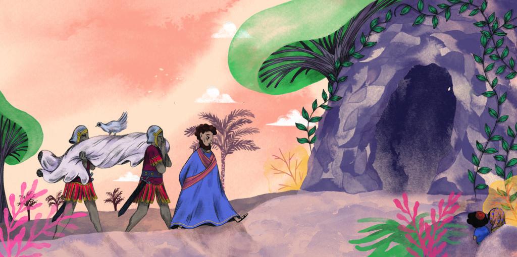 Bibelfortællinger for børn: Lea, Laban og lagenet - Jesus bæres ind i klippehule