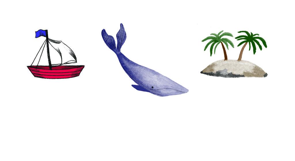 Pegebog for 1-3 årige - Det lille skib, detaljer hval, båd, palmer