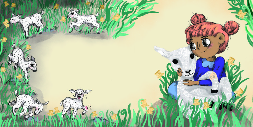 Pegebog for 1-3 årige - Godt og ondt, pige med lam og påskeliljer
