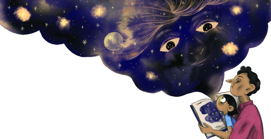 Pegebog for 1-3 årige - far læser godnathistorie under nattehimlen