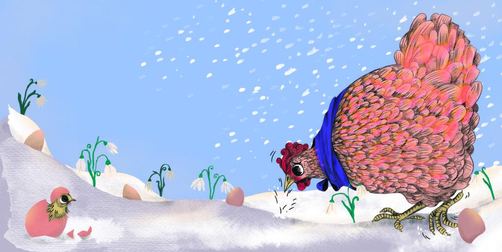 Pegebog for 1-3 årige - Sorg og glæde, høne med æg og vintergækker