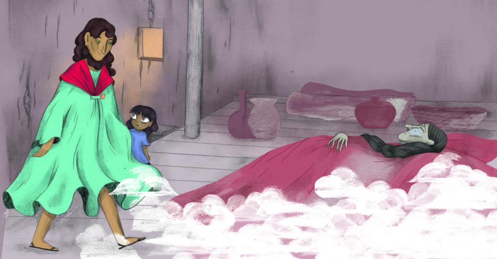 Bibelfortællinger for børn: Petra og feberen der forsvandt - Jesus går ind til mormor