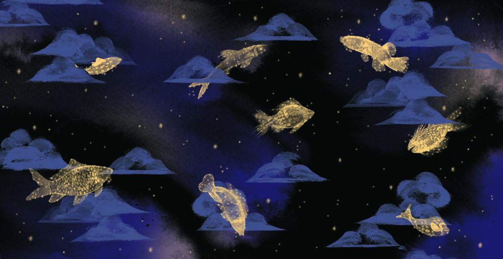 Bibelfortællinger for børn: Petra og feberen der forsvandt - omslag med fisk / nat