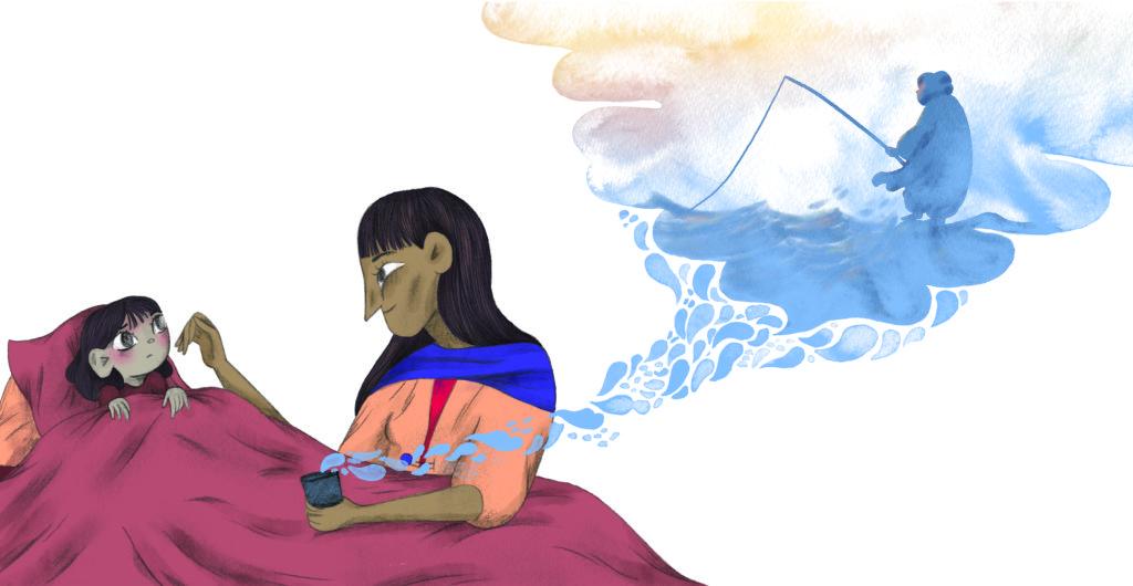 Bibelfortællinger for børn: Petra og feberen der forsvandt - Petra har feber og far er ude at fiske