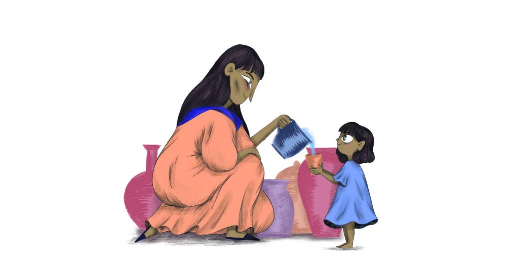 Bibelfortællinger for børn: Petra og feberen der forsvandt - Petra får et glas vand til mormor, der har feber
