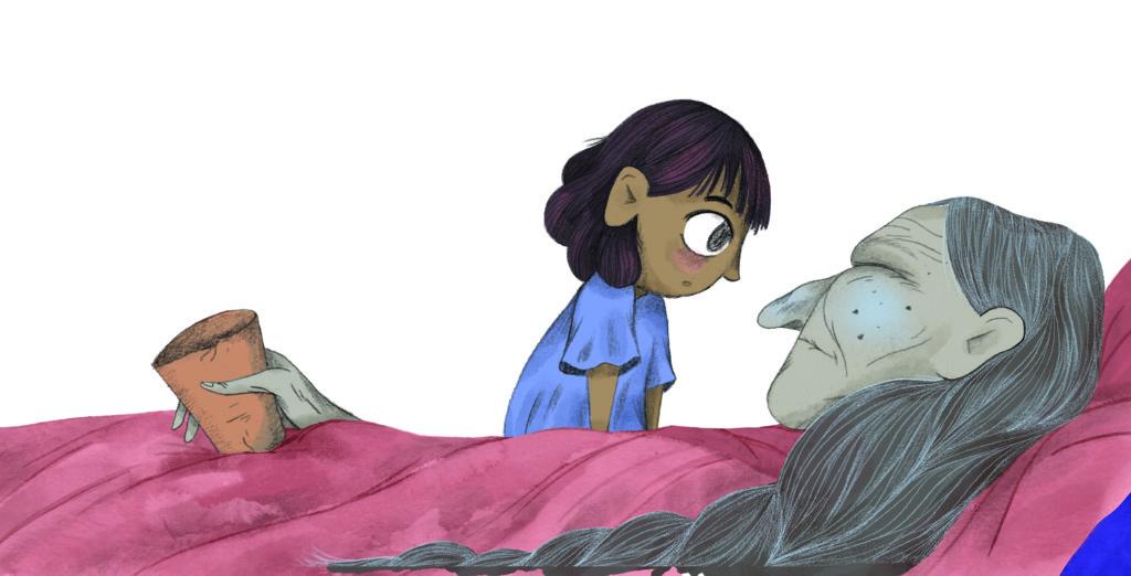 Bibelfortællinger for børn: Petra og feberen der forsvandt - Petras mormor har feber og sover