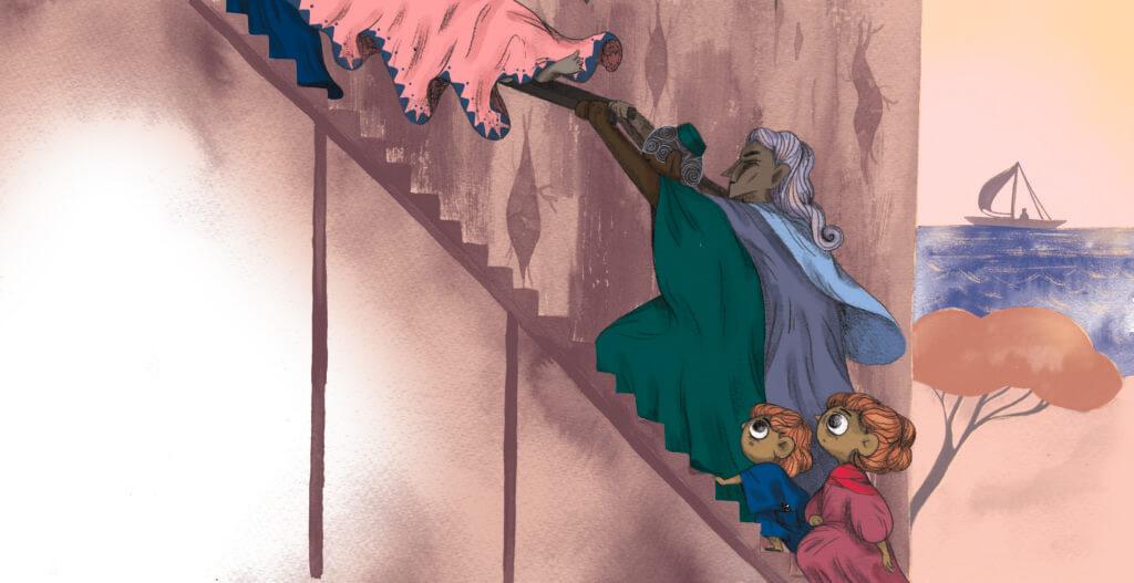 Bibelfortællinger for børn: Adam, Anna og hullet i taget - Illustration: båre bæres op ad trappe
