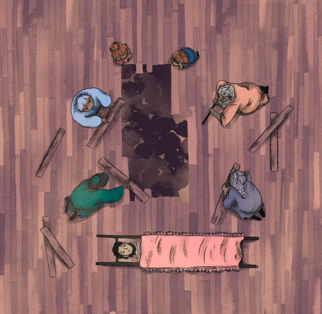 Bibelfortællinger for børn: Adam, Anna og hullet i taget - Illustration: mænd fjerner brædder og laver hul i taget
