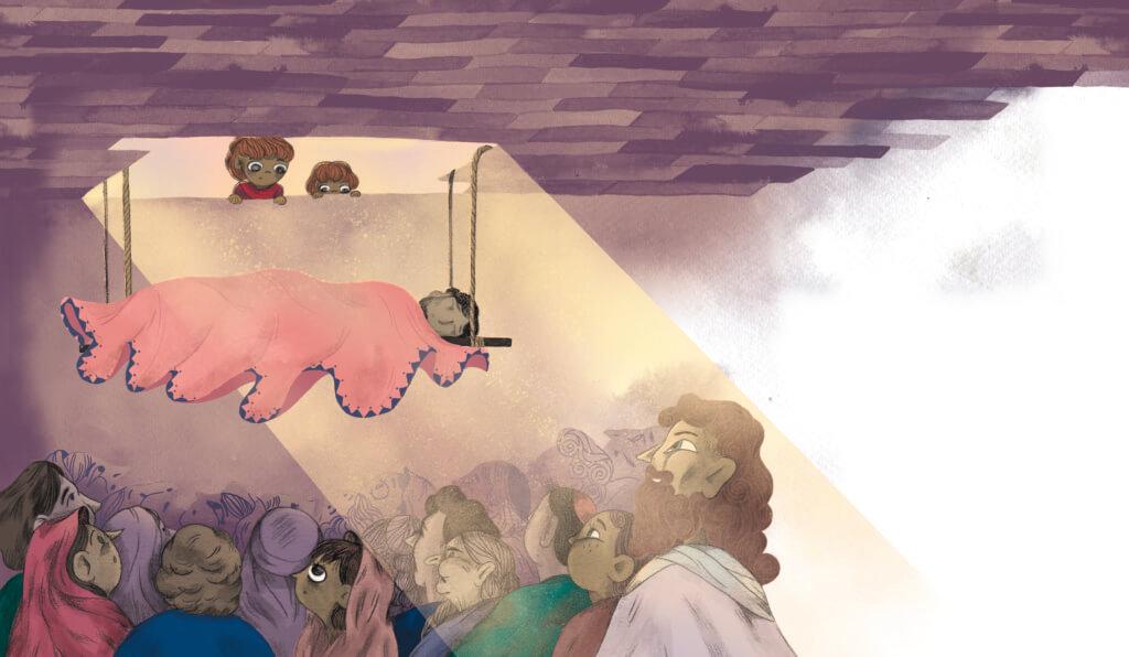 Bibelfortællinger for børn: Adam, Anna og hullet i taget - Illustration: båre hejses ned gennem taget