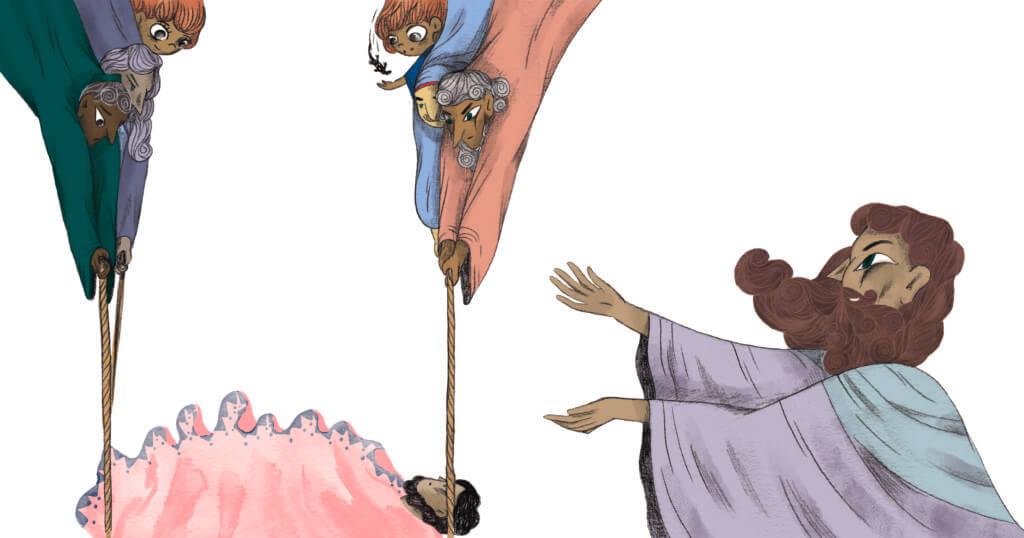 Bibelfortællinger for børn: Adam, Anna og hullet i taget - Illustration af hjælpsomme mænd der hejser båre ned