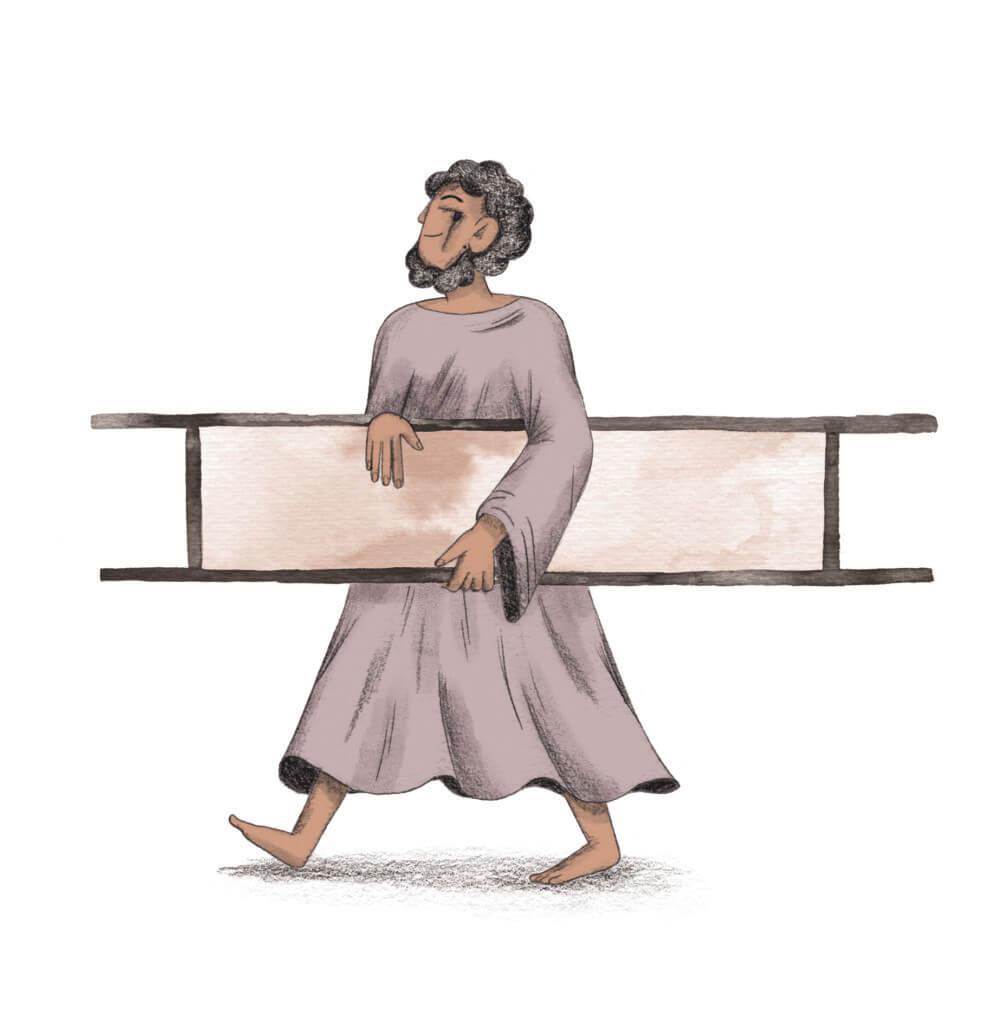 Bibelfortællinger for børn: Adam, Anna og hullet i taget - Illustration af helbredt mand med båre