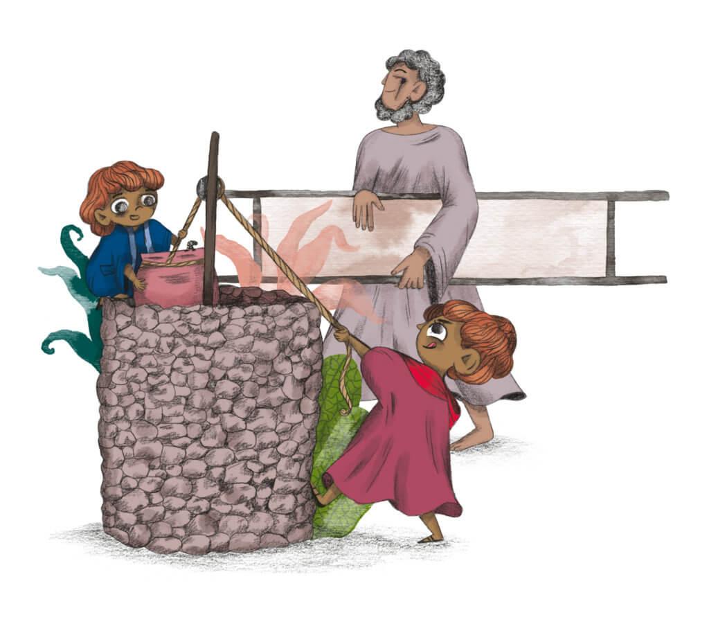 Bibelfortællinger for børn: Adam, Anna og hullet i taget - Illustration af helbredt mand ved brønd