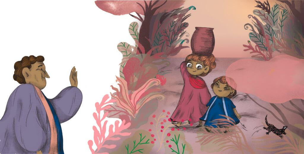 Bibelfortællinger for børn: Adam, Anna og hullet i taget - Illustration: børnene vender hjem