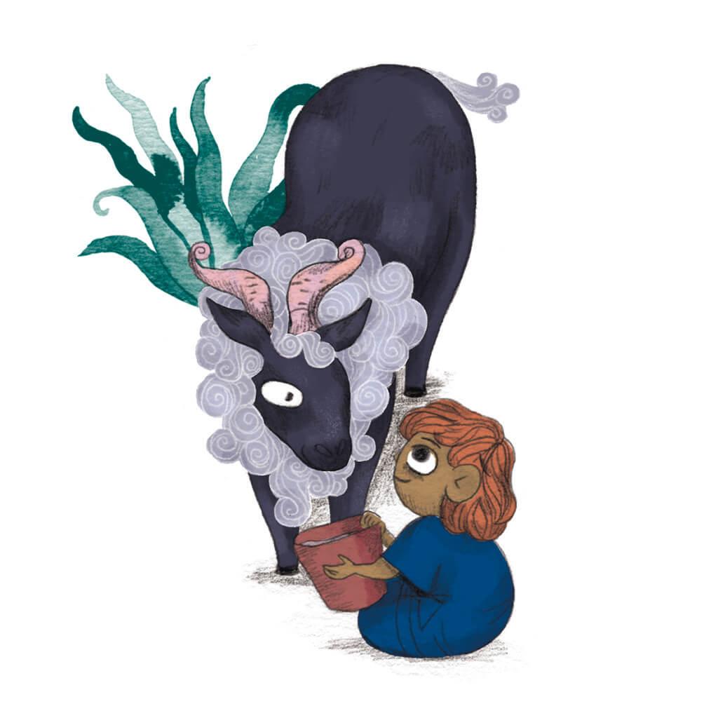 Bibelfortællinger for børn: Adam, Anna og hullet i taget - Illustration Adam med ged