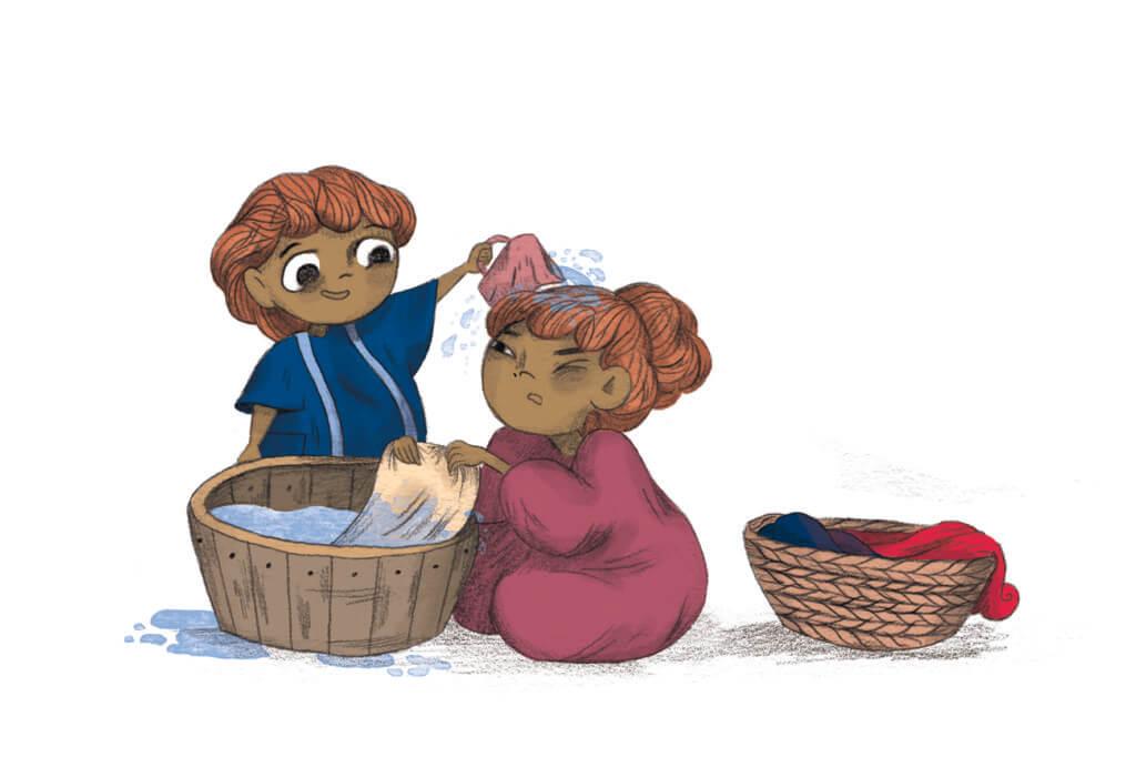 Bibelfortællinger for børn: Adam, Anna og hullet i taget - Illustration Adam og Anna vasker tøj