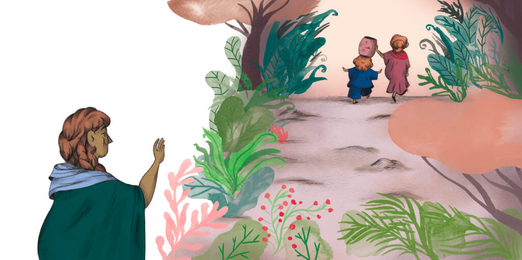 Bibelfortællinger for børn: Adam, Anna og hullet i taget - Illustration børnene går efter vand