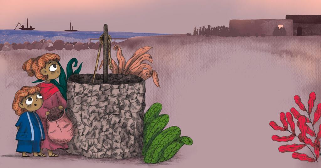 Bibelfortællinger for børn: Adam, Anna og hullet i taget - Illustration børn henter vand ved brønd