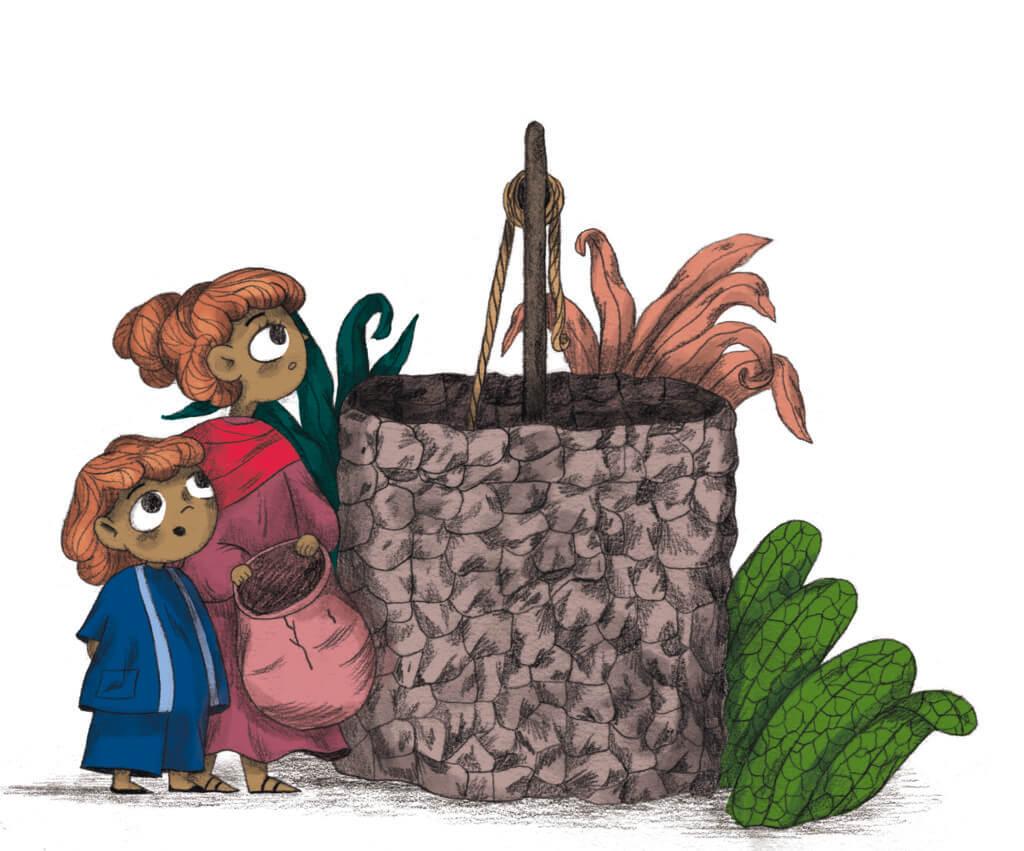 Bibelfortællinger for børn: Adam, Anna og hullet i taget - Illustration med brønd detalje