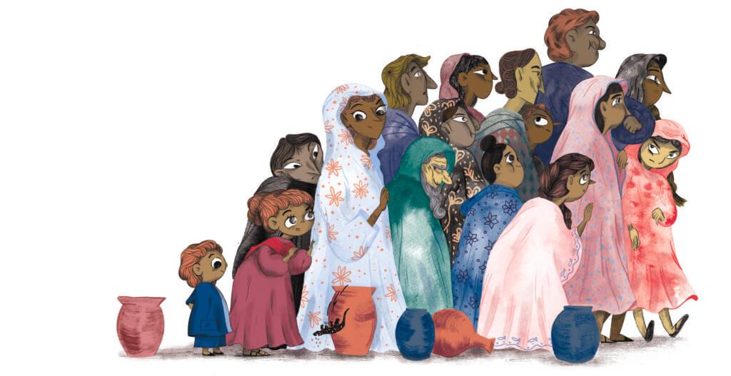 Bibelfortællinger for børn: Adam, Anna og hullet i taget - Illustration en flok mennesker
