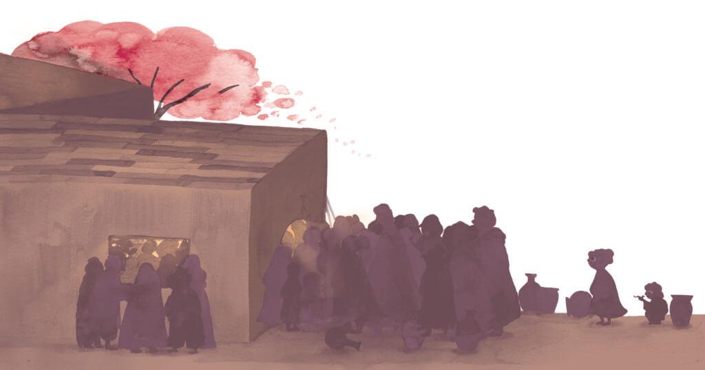 Bibelfortællinger for børn: Adam, Anna og hullet i taget - Illustration alle vil ind at høre Jesus tale