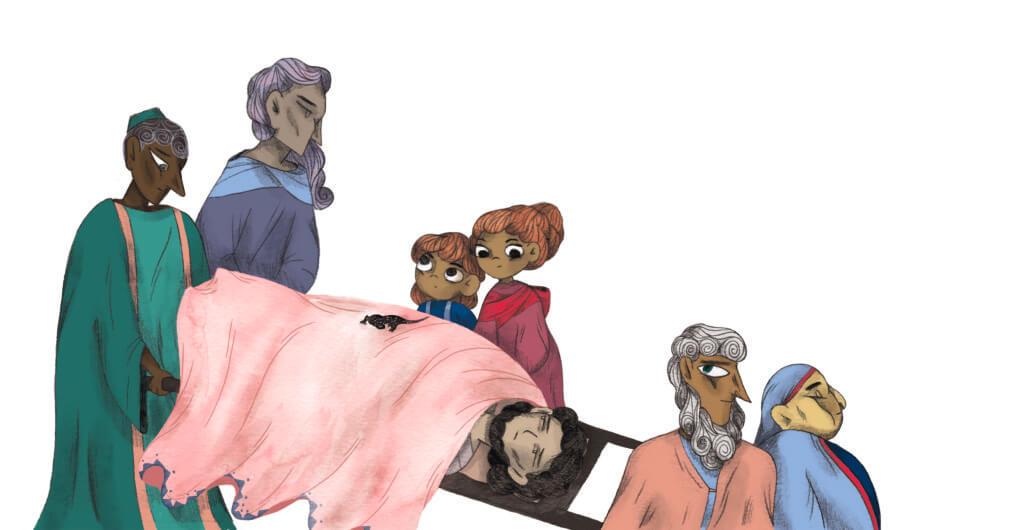 Bibelfortællinger for børn: Adam, Anna og hullet i taget - Illustration: lam mand bæres ind på båre