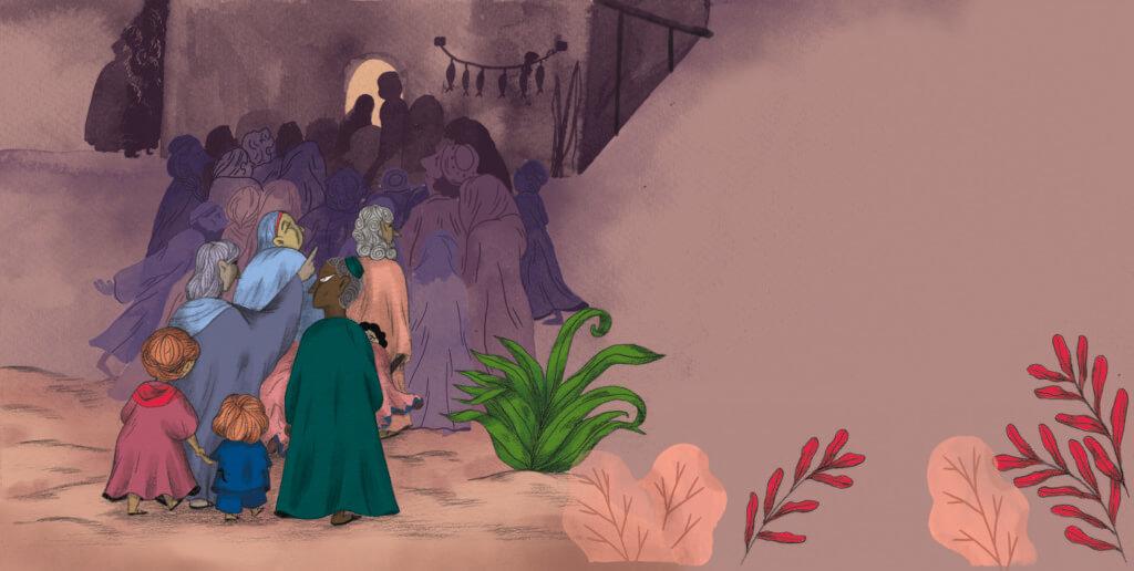 Bibelfortællinger for børn: Adam, Anna og hullet i taget - Illustration: døren er spærret af mennesker