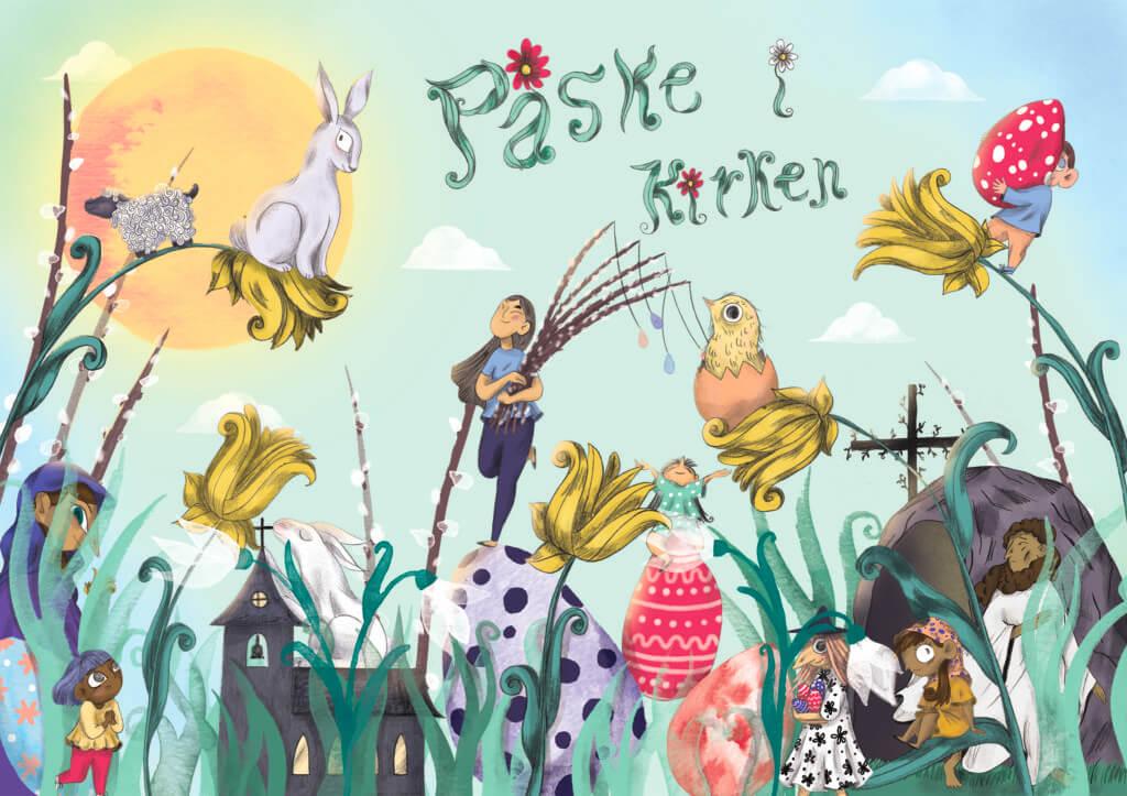 Plakat med påske liljer, vintergækker, påskeæg